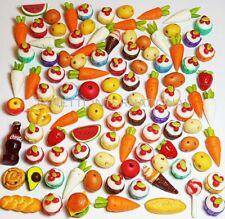100 Dollhouse Miniature Mixed Food Set *Doll Mini Cake Fruit Vegetable Bakery z3