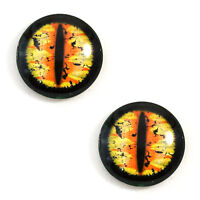 Pair of 25mm Orange and Yellow Dragon Glass Eyes for Jewelry or Doll Making