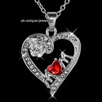 BLACK FRIDAY Mum Necklace Silver Heart Crystal Xmas Gifts For Her Mom Wife Women