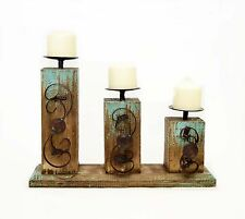 "Triple Pillar Candle Holder, Rusitc Wood with Metal Scroll Design -12.5""H"
