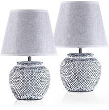 2x Design Tischlampen ANTIQUE Glasschirm Tischleuchte Nachttisch Touchfunktion