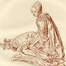 Watteau Etude Portrait Jeune fille Photogravure 19e siècle