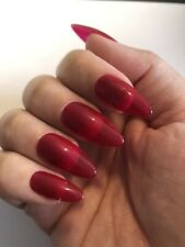 *Hand Painted Press On False Nails Jelly Dark Red Medium Stiletto/Almond Shape*