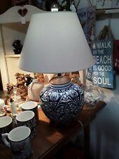 Lauren Ralph Porcelain Mandarin Blue & White Floral Ginger Jar Lamp & Shade New