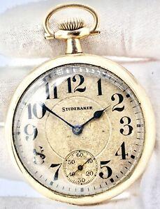 Vintage 1926 South Bend Studebaker 16s 21j Three Finger Bridge Pocket Watch