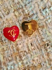 💗Chanel buttons  16 mm, 1'' lot of 2 rare heart shape  gold metal  trim