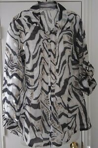ERIN LONDON Women's Convertible sleeve top size small Rayon/polyester/linen