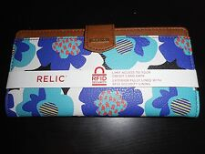 NWT RELIC BY FOSSIL BLUE FLORAL BI FOLD WALLET BIFOLD