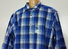 Van Heusen Dress Shirt Slim Fit 18 1/2 34/35 Blue Plaid Flex Collar Stretch NWT