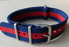 20mm NYLON NATO STRAP FOR WATCH( BLUE/RED/ BLUE)