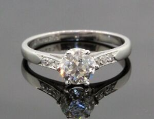 Antique Platinum Round Old Miner Cut 1.00TCW Diamond Engagement Ring #20591
