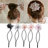 Women Flower Donut Hair Bun Pearl Braid Headband Girls DIY Hairstyle Making Tool