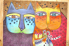 Laurel Burch Collectable Art Painting Hand Painted Brights Best Friend Cats New