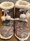 Mossy Oak Women's Slippers Large 9-10 Camo Faux Sherpa Pom Poms Break Up 1220