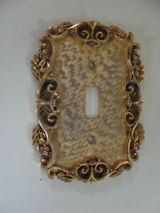 Florenta of California 1967 vintage Brass Gold-toned Switchplate single