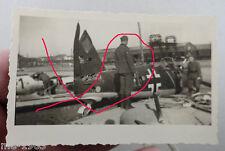 original  Foto  abgewrackte deutsche Jagdflugzeuge