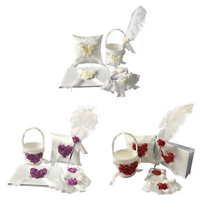 5Pcs/Sets Wedding Guest Book & Pen Set + Flower Basket +   Pillow + Garter,