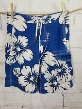 Abercrombie men's Medium Swimwear Board Shorts Blue White tropical floral BM7