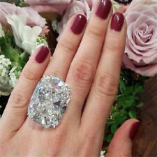 925 Silver Huge White Sapphire Birthstone Ring Wedding Party Women Jewelry Gift