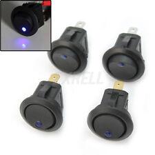 4x Interruttore Bilanciere Switch Pulsante Tondo LED Blu On/Off Auto Barca Moto