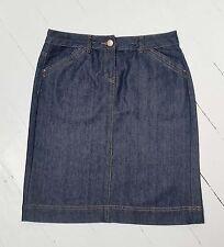 George MODA navy blue denim short mini Knee length straight A line skirt sz 10