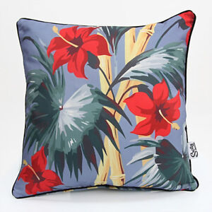 Tropical Retro Vintage BUNGALOW Hibiscus Bamboo Outdoor Scatter Cushion COVER