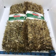 2 Vtg Italy Liberty Bell Christmas Tree Deluxe Tinsel Garland Gold 15ft Each New