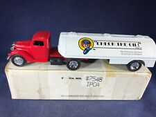 D3-74 ERTL DIE CAST BANK - 1937 FORD TRACTOR / TRAILER - CHECK THE OIL MAGAZINE