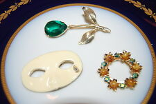 Or Brooches As Per Pictures # M-002 Wonderful Vintage Set Of Three Assorted Pins