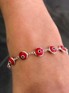 Platinum Sterling Silver Red Evil Eye Good Luck Kabbalah Bead Tennis Bracelet
