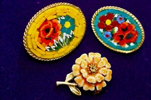 Vintage Micro Mosaic  Small Brooches and Small Enamel Flower Brooch / pin