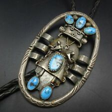 Vintage NAVAJO Sterling Silver TURQUOISE KACHINA BOLO TIE Black Leather Cord