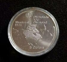 Canada 1976 Montreal Olympic $5 Dollar Silver Coin UNC BU 0.72 ASW Nice Coin