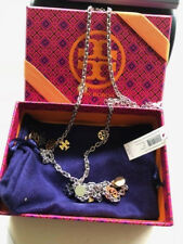 NWT TORY BURCH Logo Charm Rosary Necklace Gold/Silver $175 45%OFF Gift Box