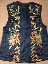 ANTIQUE EARLY 20th c QI'ING CHINESE EMBROIDERED SILK VEST FINE EMBROIDERY!