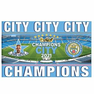 Giant Man City 2021 Premier League Champions Flag (Full Colour & 5ft x 3ft)