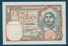 ALGÉRIE - CINQ FRANCS Pick n° 77 a du 26-8-1933 en SUP   Z.4291 337
