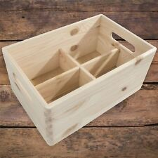 Medium Plain Wooden Storage Box /Handles & Removable Compartments/ To Decorate