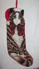 Vintage Needlepoint Christmas Stocking Kitty Cat Wool & Cotton