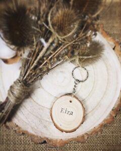 Boho Style Wooden Personalised Wood Keyring Xmas Gift
