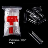500pcs Extra Long C Curve Tapered Square False Nail Tips Acrylic Half Cover Tips