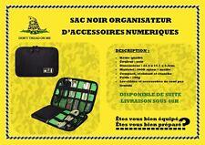 SAC NOIR ORGANISATEUR  D'ACCESSOIRES NUMERIQUES