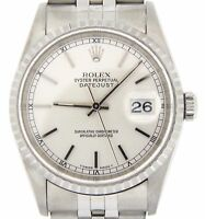 Rolex Datejust Mens Stainless Steel Watch with Jubilee Band & Silver Dial 16220