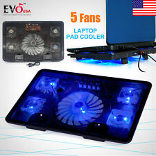 "5 Fans Blue LED USB Port Cooling Stand Pad Cooler For 12""-17"" Laptop Notebo"