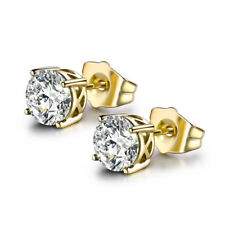 HUCHE Yellow Gold Filled Stud Diamond Clear Topaz Women Wedding Party Earrings
