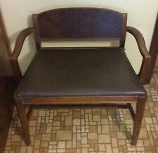 Vintage Telephone Bench, dark wood tone, wood and naugahyde
