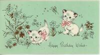 VINTAGE PARISIAN STYLE WHITE CATS KITTENS PINK RIBBONS HAPPY BIRTHDAY CARD PRINT