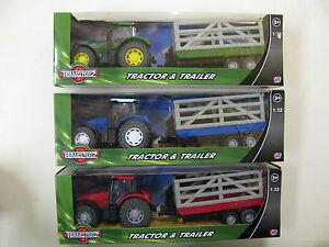 Teamsterz Tractor & Trailer Set 1/32 Crate Livestock Milk Tanker Teamsters Farm