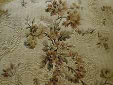 Antique French Garland Ribbons Roses Tapestry Fabric~Earth Tones Brown Gray