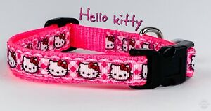 """Hello Kitty cat or small dog collar 1/2"""" wide adjustable handmade bell or leash"""